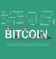 text bitcoin with young vector image