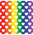 white hearts on rainbow background lgbt vector image