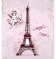 Vintage card with Eiffel Tower and cupid vector image vector image