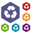 Recycling rhombus icons vector image