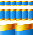 Blue ribbons with gold edging vector image