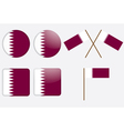 badges with flag of Qatar vector image vector image