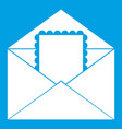 envelope with card icon white vector image