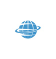 Globe mockup logo blue symbol of Earth internet or vector image