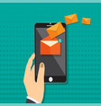 hand holding smart phone in hand with email social vector image