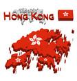 hong kong 3d flag and map vector image