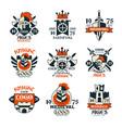 medieval logo design set middle ages vintage vector image