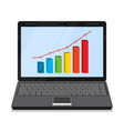 monitor with business graph vector image
