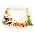 Santa Claus holding candy and standing beside vector image