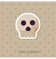Skull icon Halloween sticker vector image