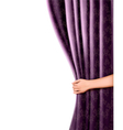 Background with violet velvet curtain and hand vector image