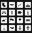 russia icons set squares vector image