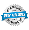 merry christmas 3d silver badge with blue ribbon vector image