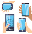 differents smartphones technology in the hands vector image