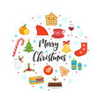 merry christmas icon set in round shape template vector image