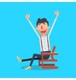 Happy man with hands up cartoon vector image