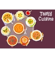 Sweet and savory pastry with cream soup icon vector image