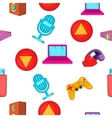 Electronic gadget pattern cartoon style vector image