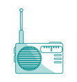 blue shading silhouette of portable radio vector image