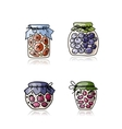 Jar with jam sketch for your design vector image