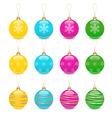 christmas balls decoration icon set vector image vector image