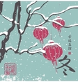 winter landscape with a tree with paper lanterns vector image vector image