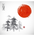 Forest trees ammd red sun hand drawn with ink vector image