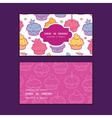 colorful cupcake party horizontal frame pattern vector image