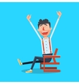 Happy man with hands up cartoon vector image