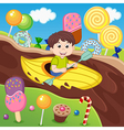 boy in canoe floating on chocolate river vector image vector image