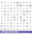 100 travel time icons set outline style vector image