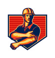Construction Worker Rolling Up Sleeve Retro vector image