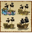 Pirate ship at different stages of desolation vector image