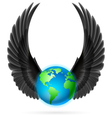 Globe with black wings on white vector image