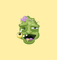 head terrible facial expression smiley zombie vector image