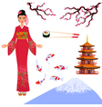 Japan set from isolated elements of national vector image