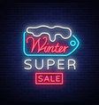 winter sales banner in neon style vector image