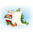 Santa Claus holding candy and standing beside the vector image
