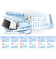 Calendar for 2013 with architectural elements vector image vector image