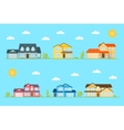 Neighborhood with homes on the blue vector image