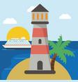 lighthouse cruise beach sun vector image