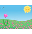 summer meadow with a single flower vector image vector image