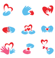 hand and heart symbols vector image
