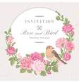 Beautiful frame with pink roses and birds vector image
