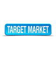 Target market blue 3d realistic square isolated vector image