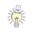 bulb idea with bill cash money vector image