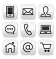 Contact web stroke buttons set vector image