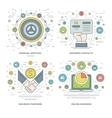 Flat line Banking Services Contacts Partners vector image
