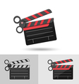 Scissors Slate Film Icon Logo Symbol vector image