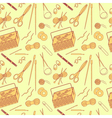 Seamless pattern of tools for knitting icons vector image
